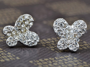 Swarovski Crystal Element Silver Colored Butterfly Insect Stud Earrings