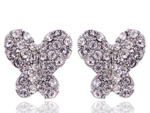 Load image into Gallery viewer, Swarovski Crystal Element Silver Colored Butterfly Insect Stud Earrings