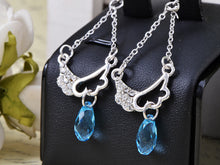 Load image into Gallery viewer, Swarovski Crystal Element Silver Light Blue Angel Wings Chandelier Dangle Earrings