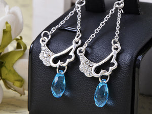 Swarovski Crystal Element Silver Light Blue Angel Wings Chandelier Dangle Earrings