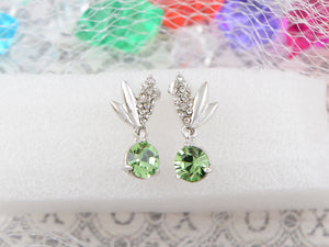 Swarovski Crystal Element Silver Green Circle Leaf Wing Dangle Earrings