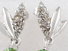 Load image into Gallery viewer, Swarovski Crystal Element Silver Green Circle Leaf Wing Dangle Earrings