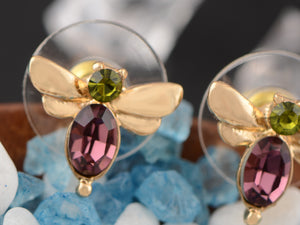 Swarovski Crystal Green Purple Mini Petite Dragonfly Insect Stud Earrings