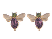 Load image into Gallery viewer, Swarovski Crystal Green Purple Mini Petite Dragonfly Insect Stud Earrings