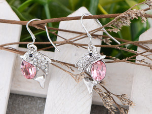 Swarovski Crystal Element Silver Pink Sea Dolphin Fish Hook Dangle Earrings