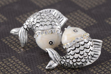 Load image into Gallery viewer, Swarovski Crystal Element Antique Silver Fish Stud Earrings