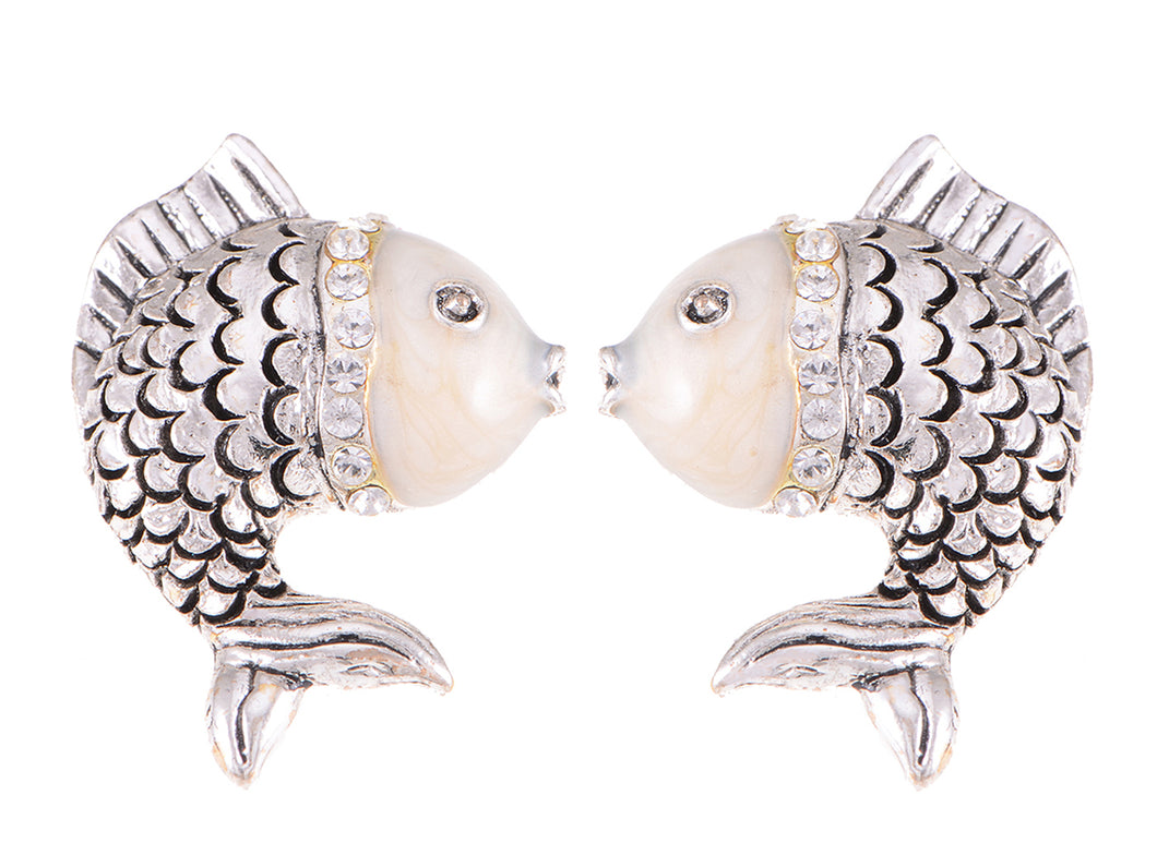 Swarovski Crystal Element Antique Silver Fish Stud Earrings