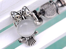 Load image into Gallery viewer, Element Antique Silver Cat Eye Owl Bird Stud Earrings