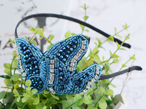 Hand Made Bright Blue Butterfly Headband Hair Piece