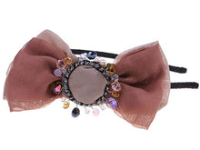 Load image into Gallery viewer, Brown Taupe Chiffon Fabric Bow Accent Beads Detail Headband Hair Piece