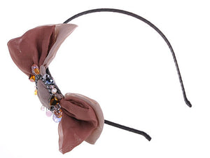 Brown Taupe Chiffon Fabric Bow Accent Beads Detail Headband Hair Piece