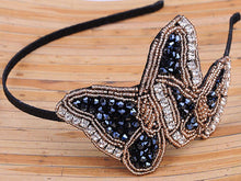 Load image into Gallery viewer, Hand Made Black Beads Butterfly Headband Hair Piece