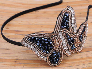 Hand Made Black Beads Butterfly Headband Hair Piece