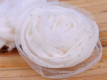 Load image into Gallery viewer, Cream Fabric Mesh Net Glitter Accent Rose Rosette Head Piece Alligator Hair Clip