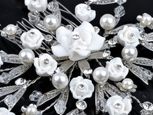 Load image into Gallery viewer, Czech Flower Rosette Pearl Pinwheel Hair Comb