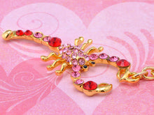 Load image into Gallery viewer, Ruby Red Rose Pink Zodiac Gold Scorpion Insect Keychain
