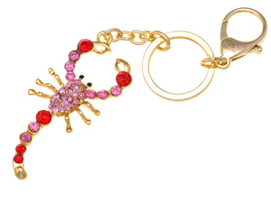 Ruby Red Rose Pink Zodiac Gold Scorpion Insect Keychain