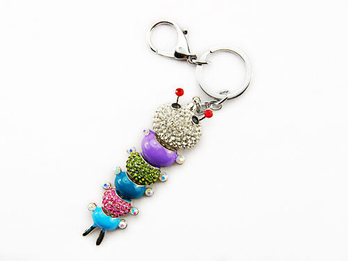 Multi Colorful Caterpillar Bug Key Chain