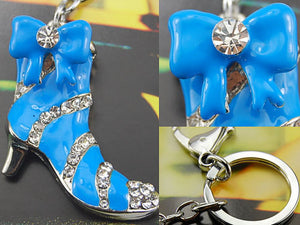Turquoise Blue Color Enamel Girly Boot Stiletto Heel Keychain