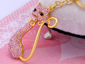 Bow Tie Light Rose Pink Pipe Kitten Cat Keychain