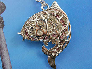 Peek A Bow Mesh Outline Cut Out Jumping Trout Fish Keychain