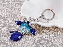 Load image into Gallery viewer, Swarovski Crystal Enamel Blue Cartoon Jumping Flipper Fish Keychain