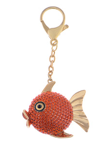 Swarovski Crystal Fire Opal Angel Piranha Fish Keychain