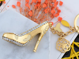 Swarovski Crystal Designer Stilleto Heel Shoe Dangle Keychain