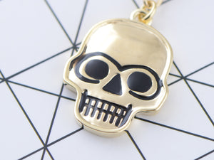 Cracked Spooky Two Skull Face Head Key Chain