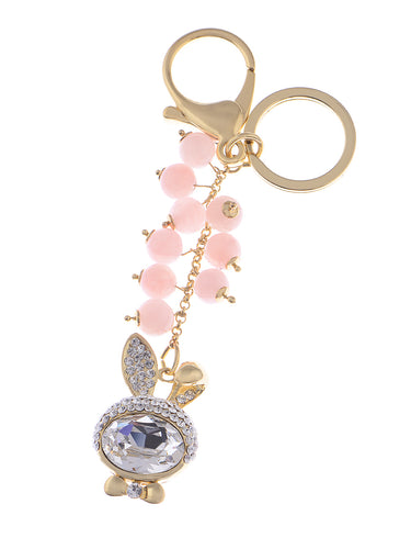 Pink Beaded Gold Lucky Bunny Rabbit Keychain