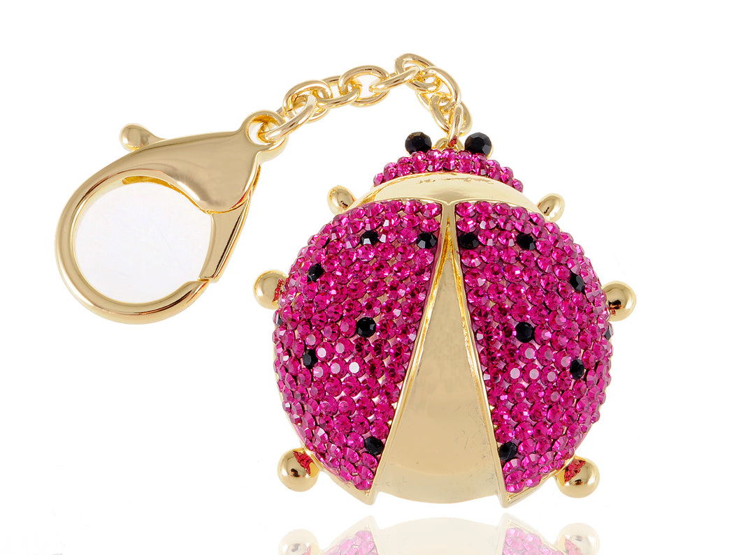 Fuchsia Pink Spotted Ladybug Insect Keychain
