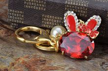 Load image into Gallery viewer, Swarovski Crystal Ruby Bunny Rabbit Bowtie Pearl Bead Keychain