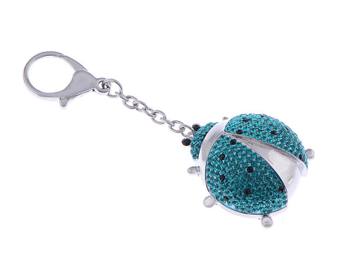 Fuchsia Aqua Colored Spotted Ladybug Insect Swarovsky Keychain