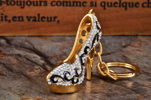 Gold Flourish Lady Stilleto Heel Shoe Keychain