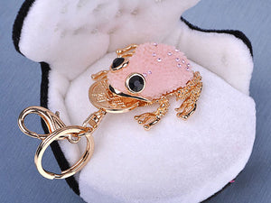 Pink Lucky Mini Fat Tree Frog Toad Charm Keychain