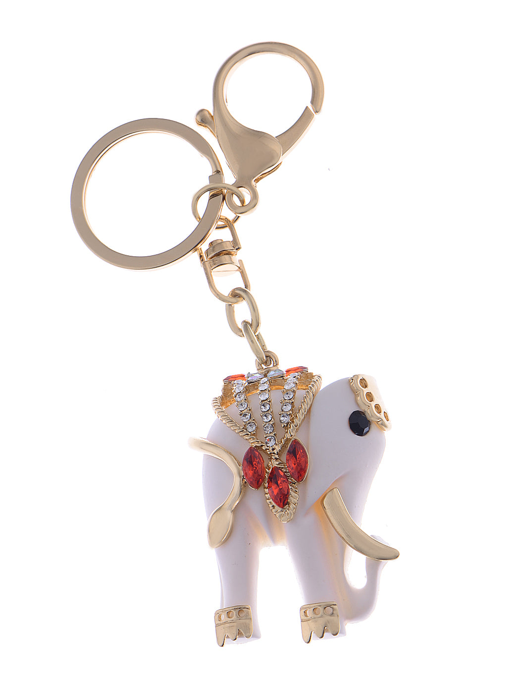 Multicolored Cream Indian Elephant Key Chain