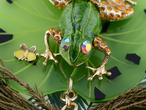 Swarovski Crystal Enamel Green Frog Toad On Lily Pad Charm Pendant Purse Keychain