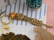 Load image into Gallery viewer, Swarovski Crystal Emerald Green Color Eye Leaping Tiger Keychain