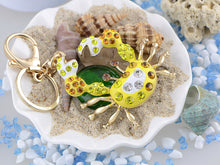 Load image into Gallery viewer, Swarovski Crystal Golden Tone Crab Shaped Pendant Keychain