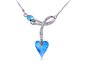 Swarovski Crystal Light Blue Heart Spade Ribbon Pendant Necklace
