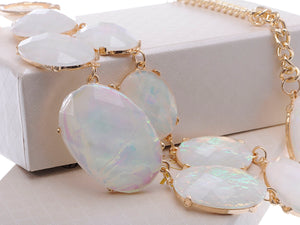 Oval Gem White Opal Dangling Necklace