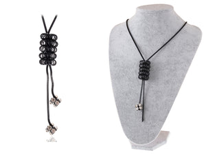 Black Chain Honeycomb Dangle Tassel Jewelry Necklace