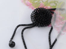 Load image into Gallery viewer, Fancy Black Chain Bursting 3 D Flower Dangling Tassel Jewelry Necklace