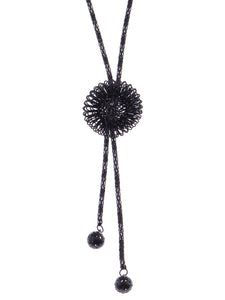 Fancy Black Chain Bursting 3 D Flower Dangling Tassel Jewelry Necklace