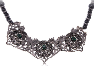 Flower Garden Emerald Collar Bib Necklace