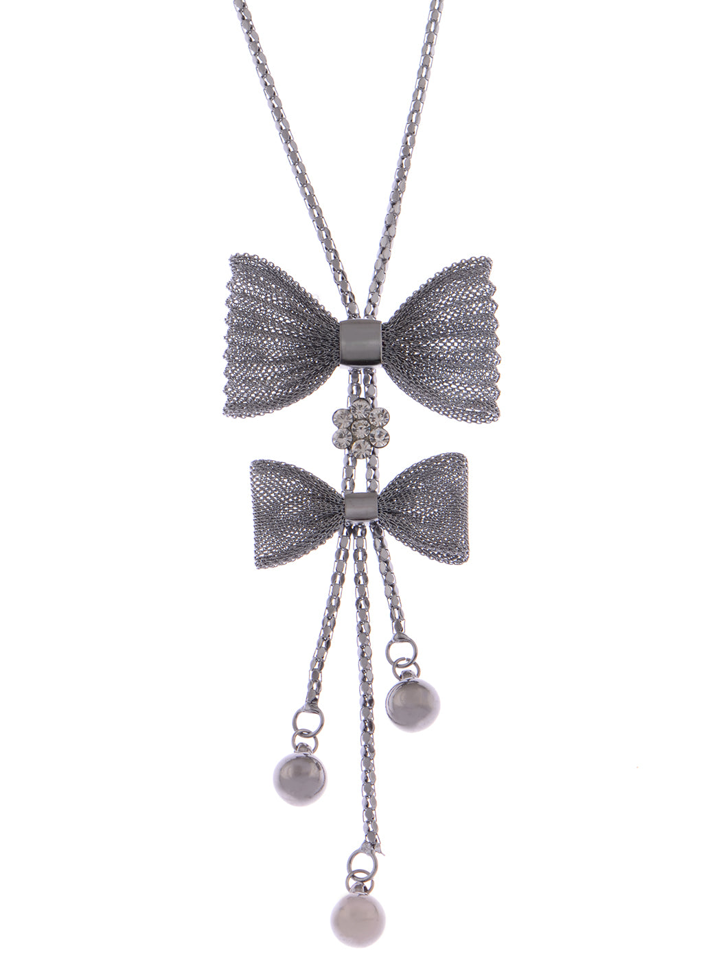 Antique Ribbon Present Gift Bow Dangling Necklace