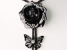 Load image into Gallery viewer, Black 3D Rose Flower Butterfly Cut Out Tassel Necklace