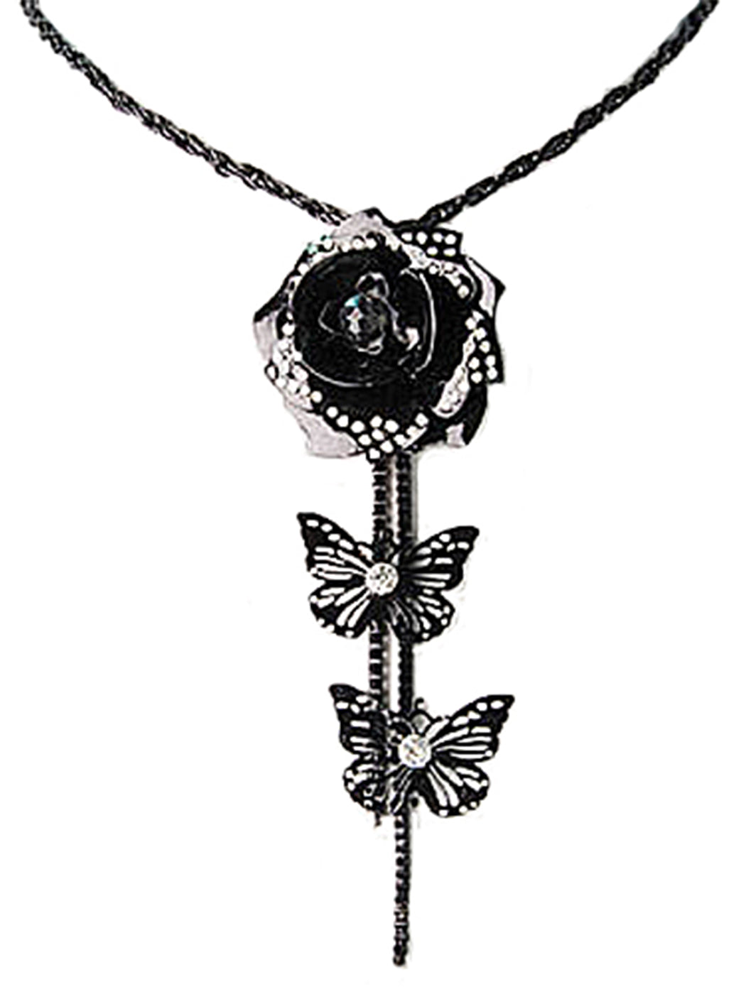 Black 3D Rose Flower Butterfly Cut Out Tassel Necklace