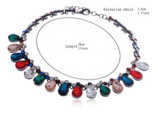 Load image into Gallery viewer, Festive Multicolor Gem Teardrop Black Chain Necklace