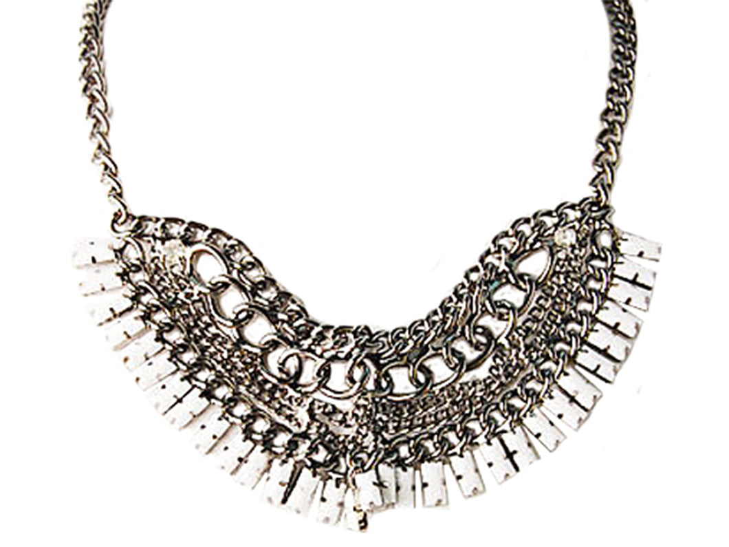 Ethnic Tribal Gun Chain Link Fan Jewelry Necklace Bib